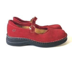 Born Red Seued Leather Mary Jane Shoes Buckle